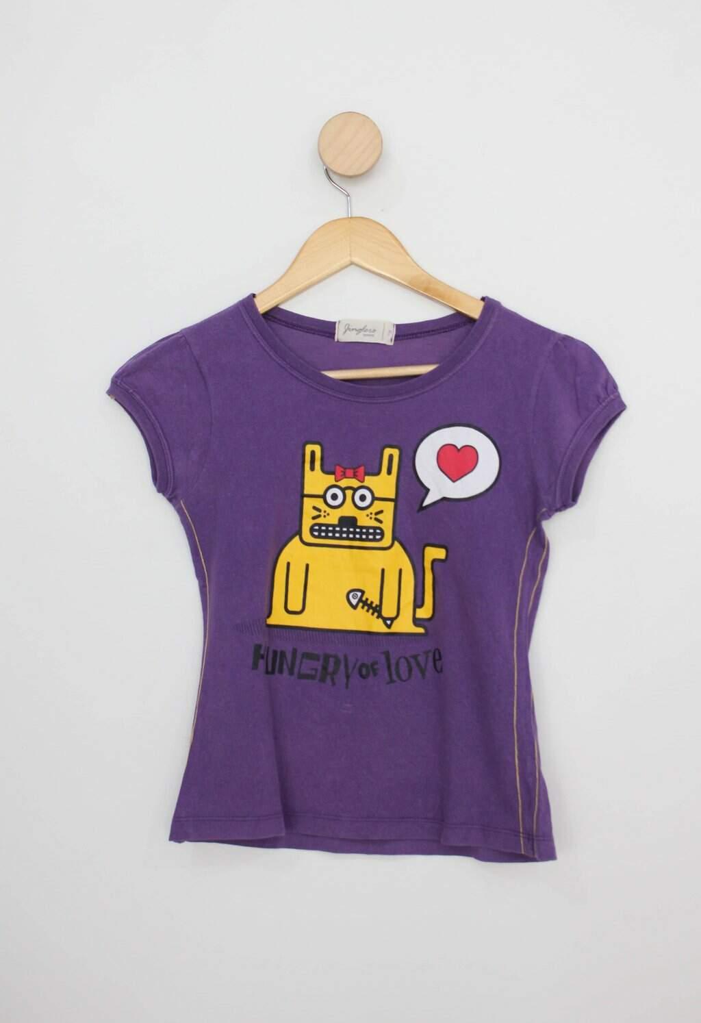 Camiseta Infantil C&a Roxa Com Estampa