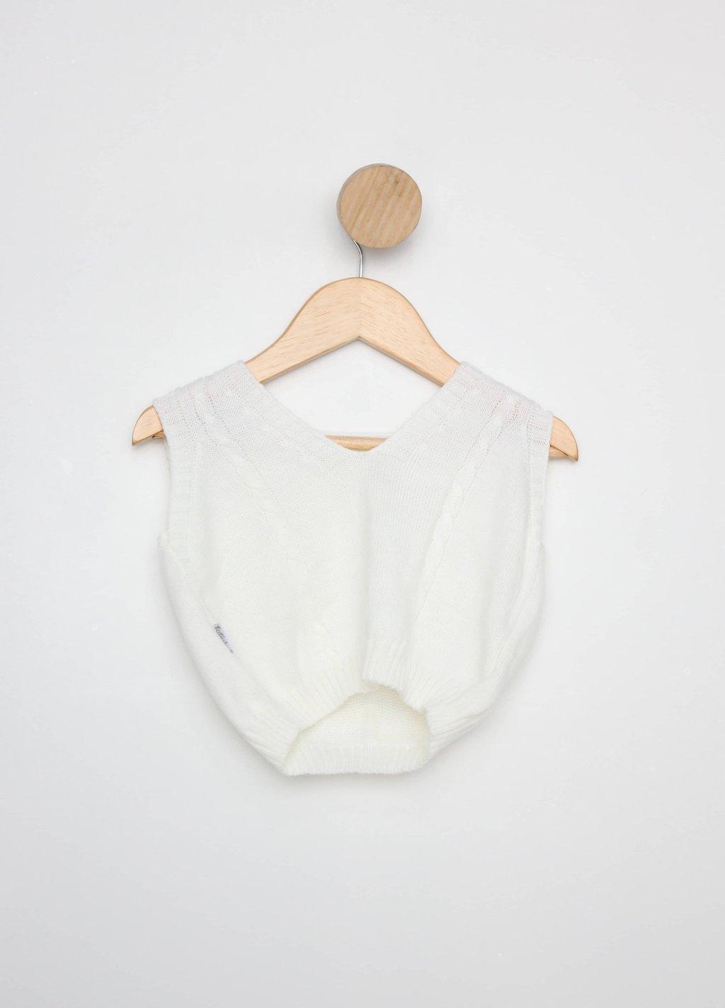 Colete Tricot Infantil Fofinho Branco