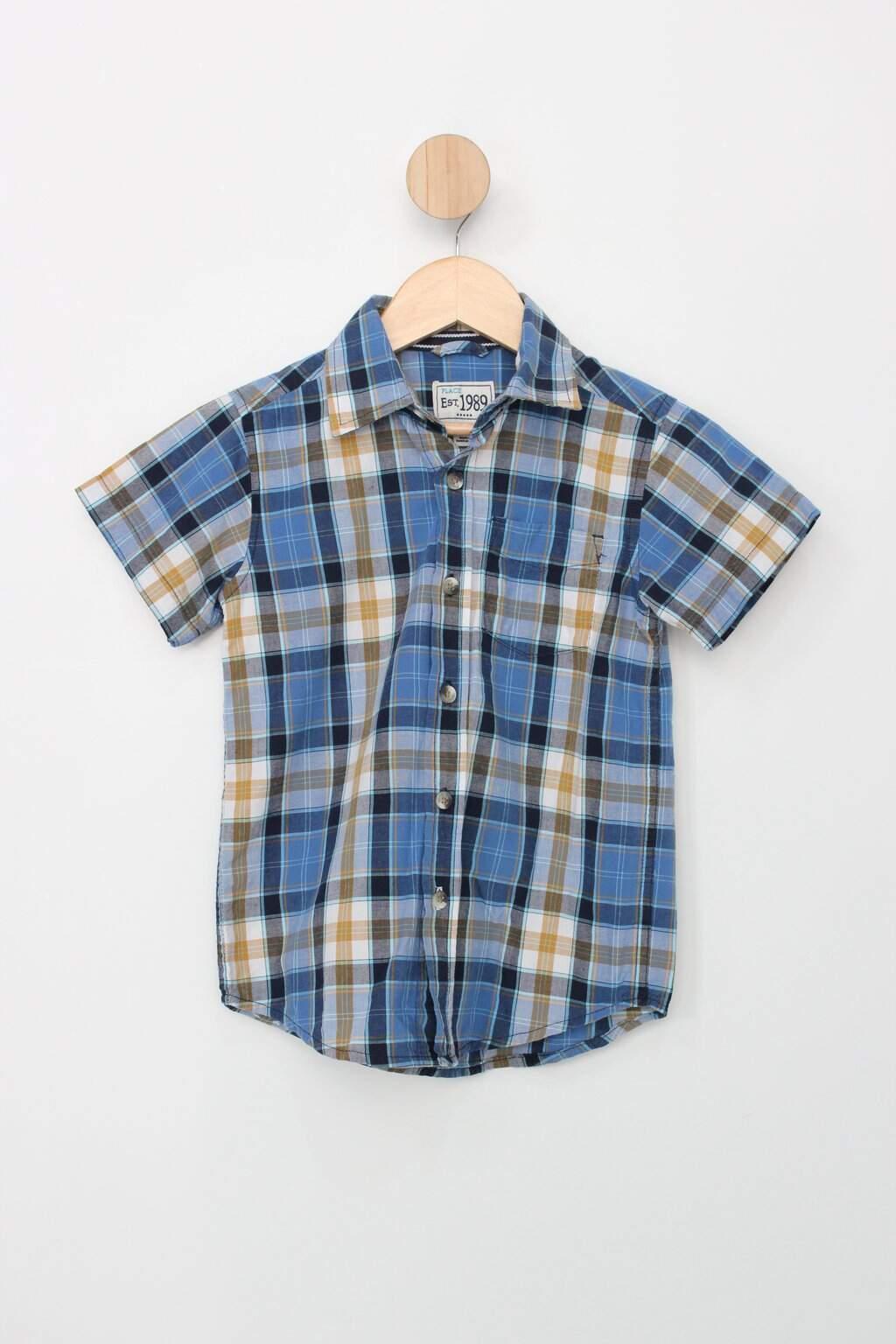 Camisa Manga Curta Infantil Est. 1989 Xadrez Azul