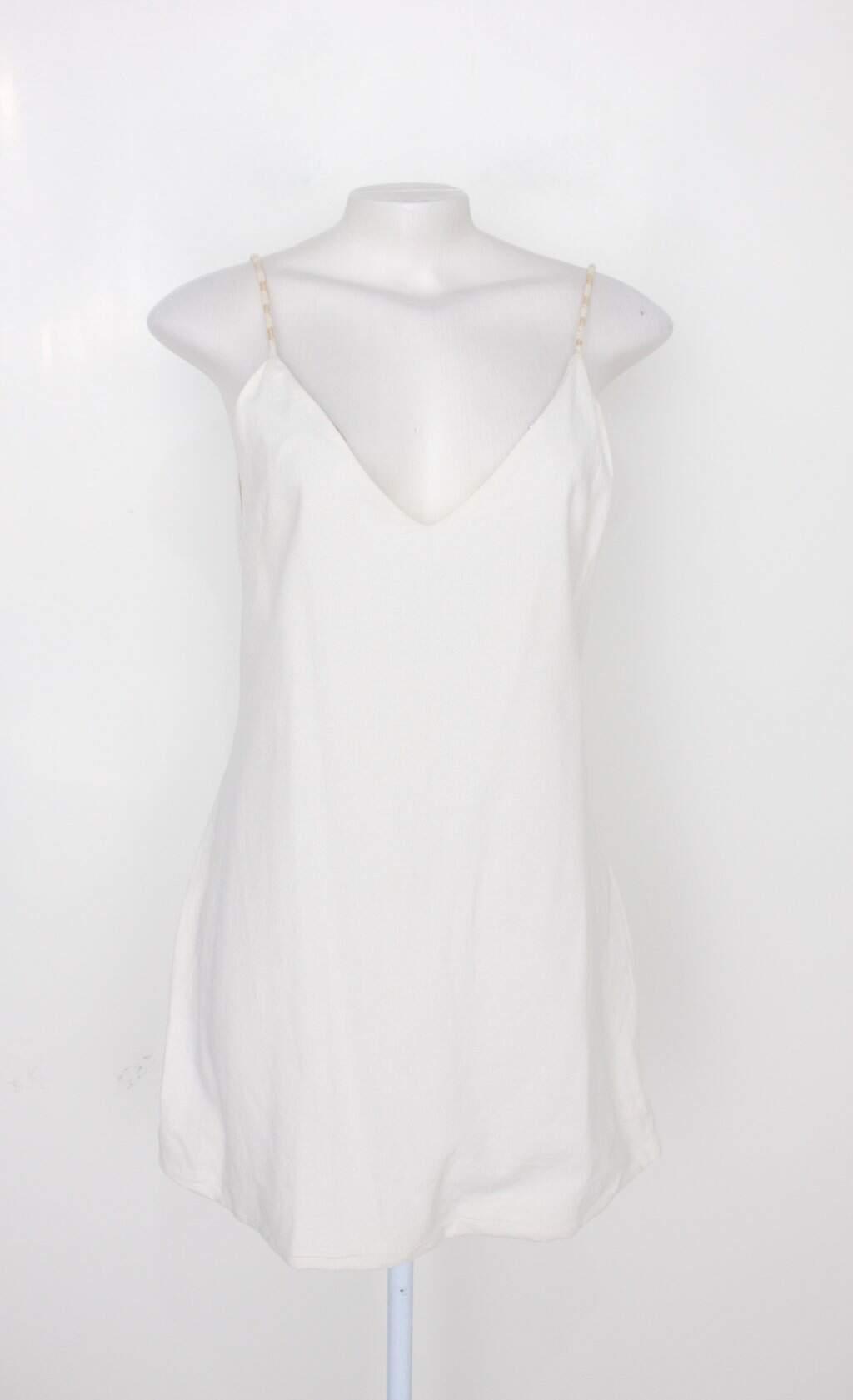 Vestido De Alça Feminino Branco Com Forro
