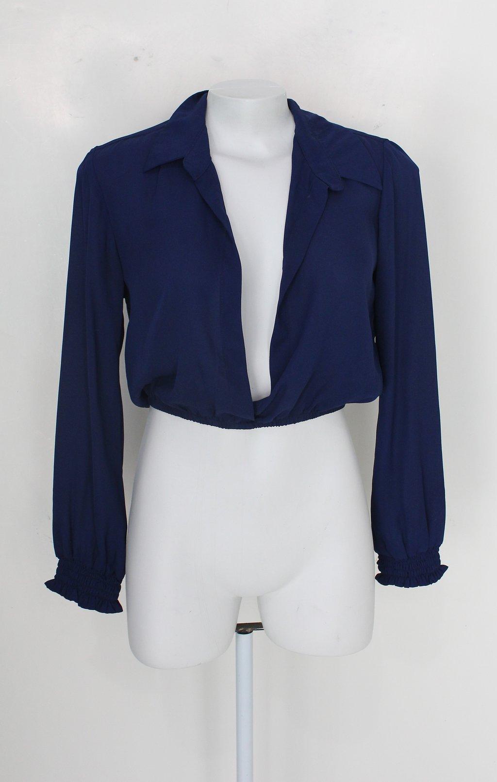 Blusa Cropped Feminina Azul Com Cós Com Elástico