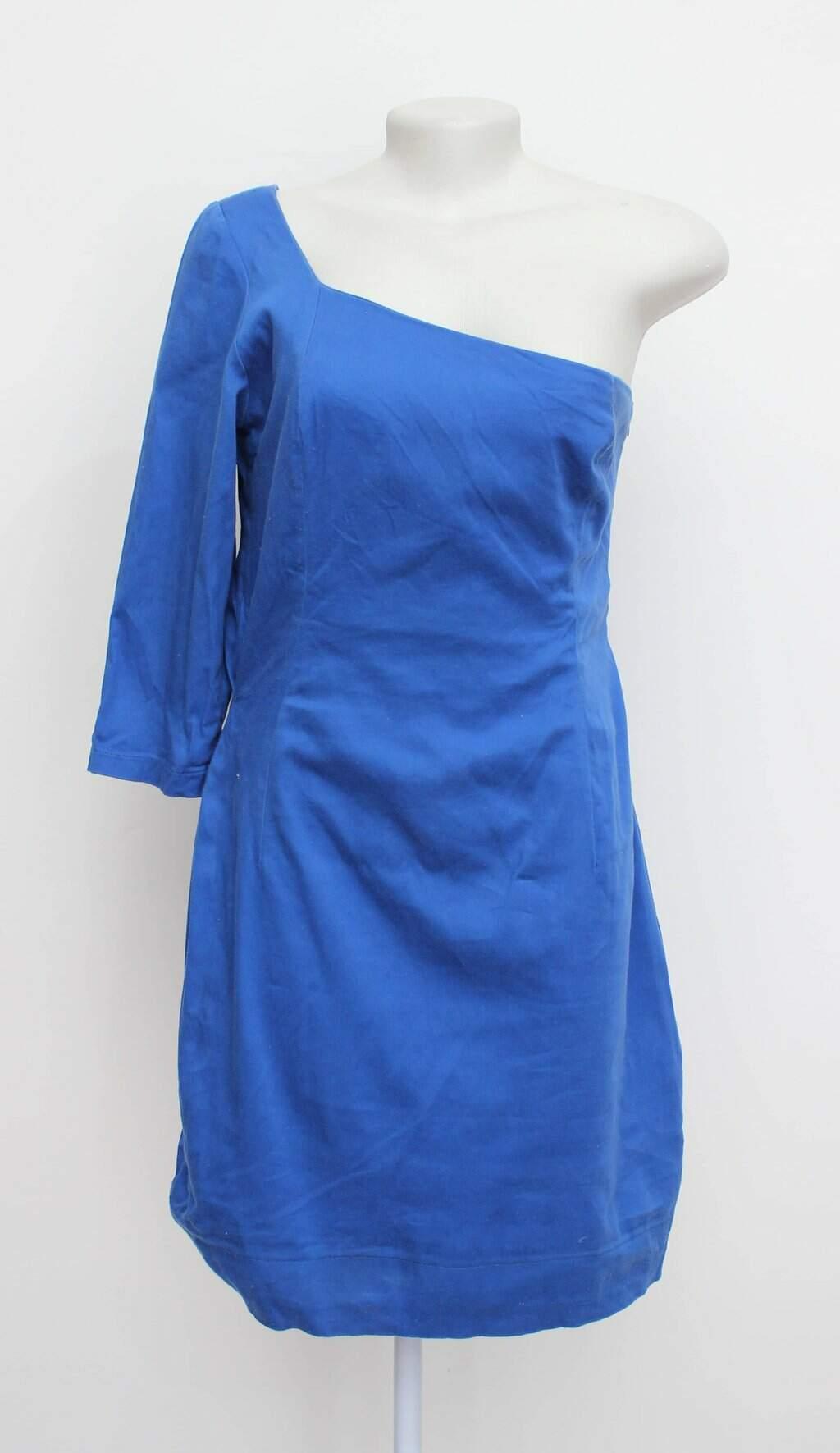 Vestido ombro unico azul