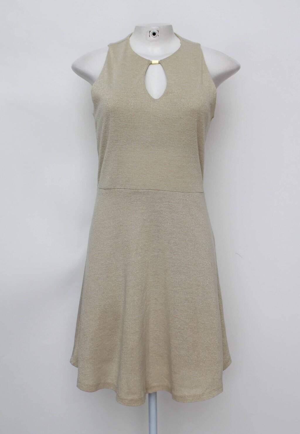 Vestido riachuelo feminino bege Com forro e fios metalizados