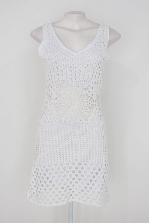 Vestido em tricot feminino off-white com forro