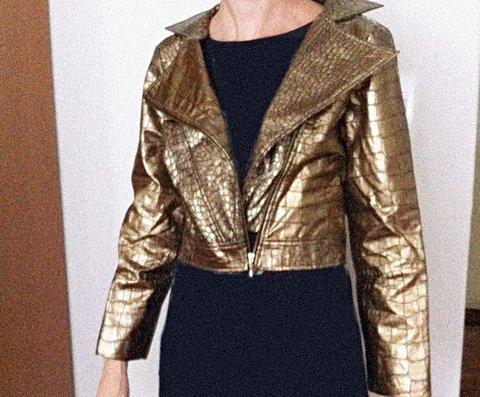 Jaqueta Croco Dourada_