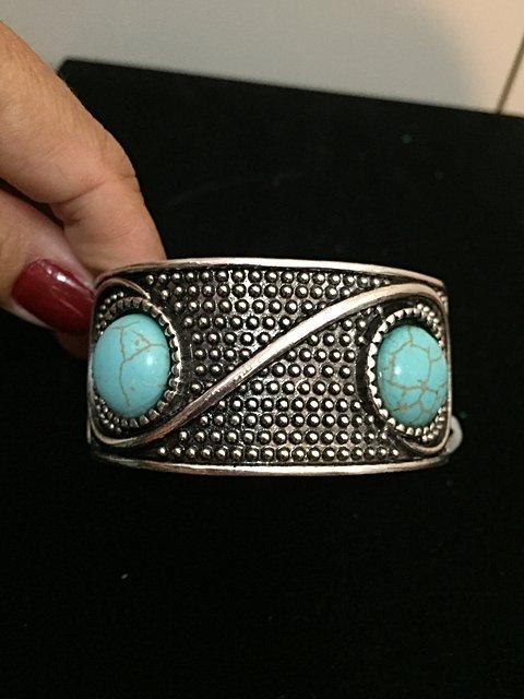 Bracelete Prata com pedra Turquesa _foto principal