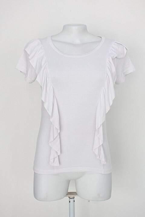 Blusa toque de cor feminina branca com Babado_foto principal