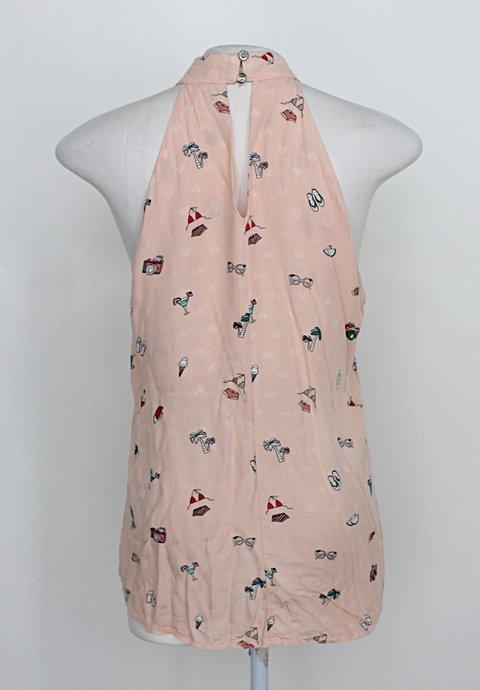 Blusa + remix feminina rosa com estampa_foto de costas