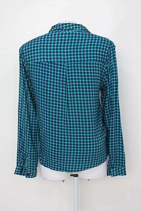 Camisa top modas feminina verde xadrez _foto de costas