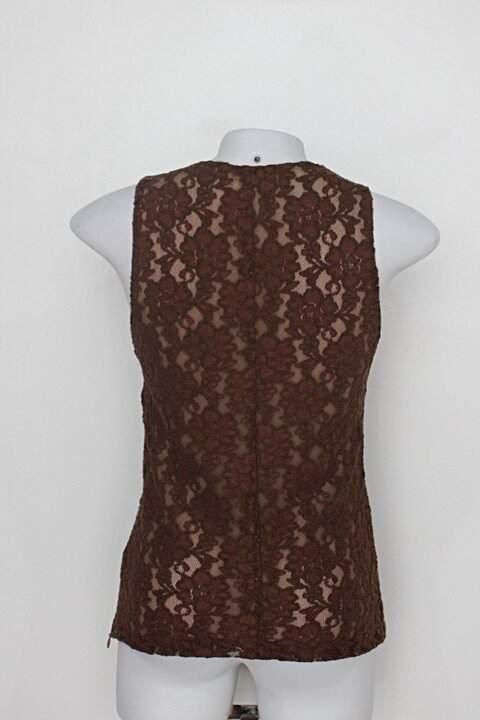 Regata de renda gregory feminina marrom Com forro_foto de costas