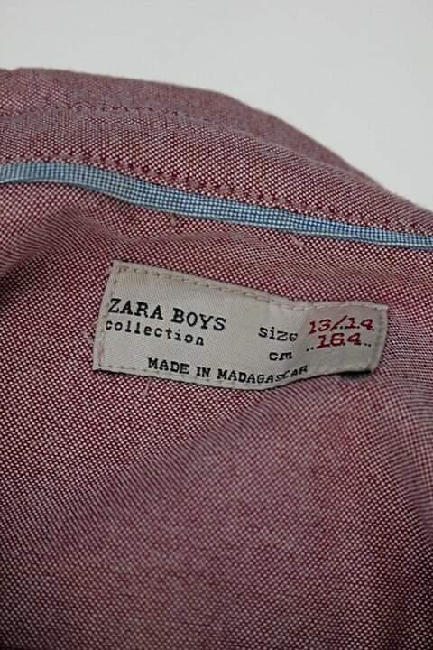 Camisa manga longa Infantil masculina zara vermelho mesclado_foto de detalhe