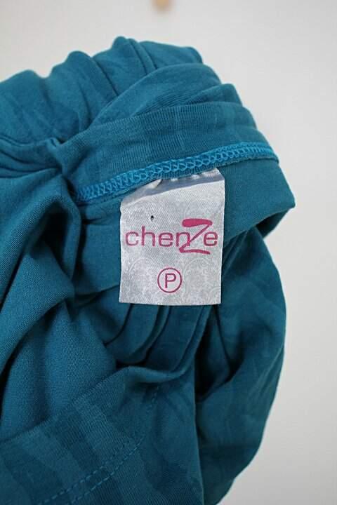 Vestido midi chenze feminino azul estampado com franzido_foto de detalhe