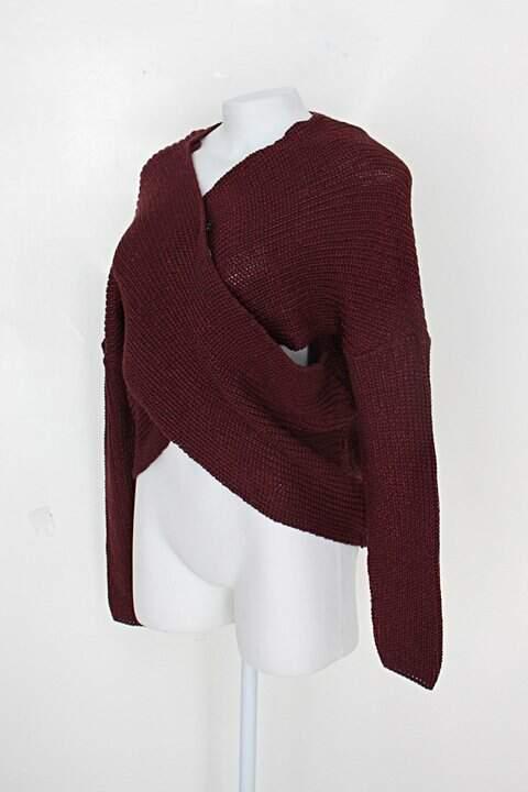 Blusa de tricô riachuelo feminina vinho_foto de costas