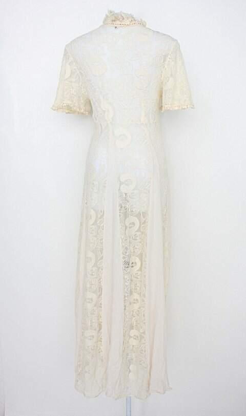 Vestido farm feminino off-white com Transparência_foto de costas