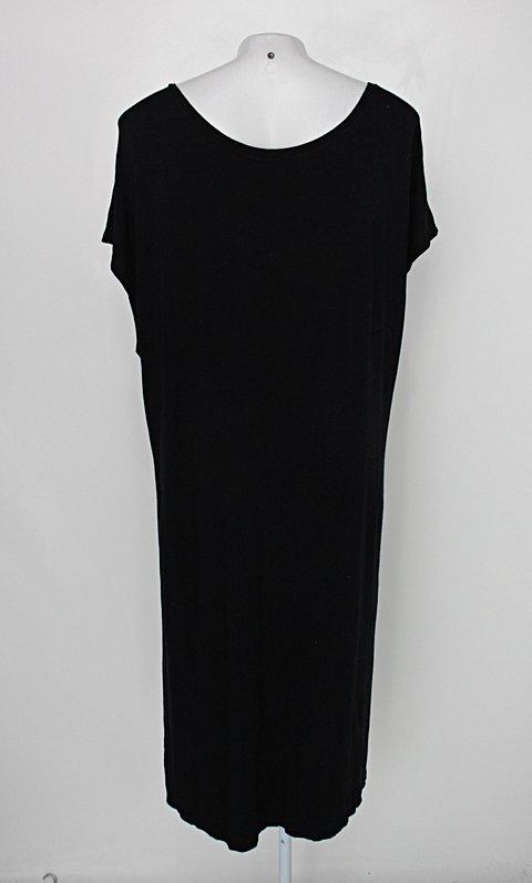 Blusa alongada garimppo feminina preta com Fendas_foto de costas