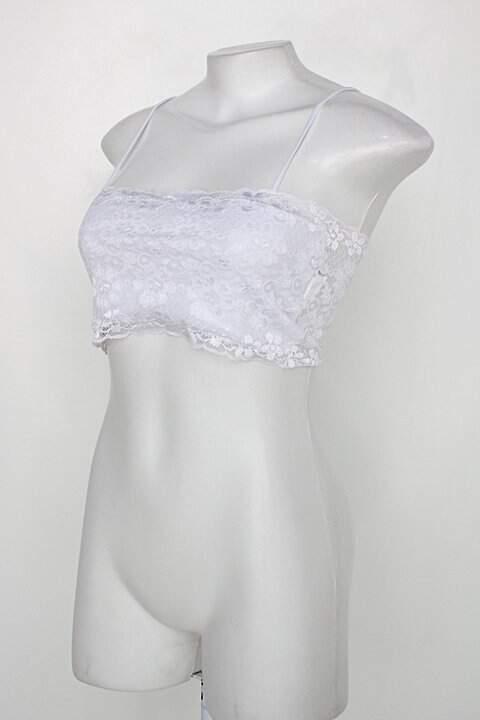 Top gellis feminino branco com Renda e forro P_foto de costas
