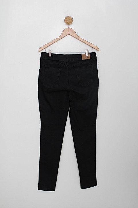 Calça de sarja look jeans feminina preta_foto de costas