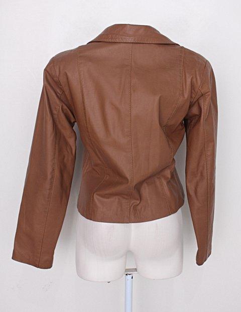 Jaqueta de couro feminina marrom_foto de detalhe