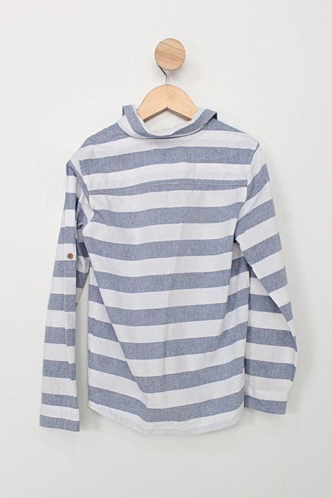 Camisa Infantil figurinha boys com listras azul e branca_foto de costas