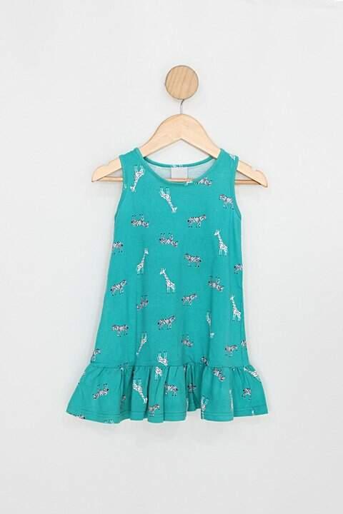 Vestido Infantil malwee verde estampado_foto principal