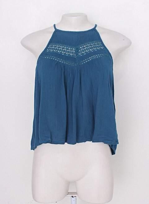Blusa azul com renda Forever 21_foto principal