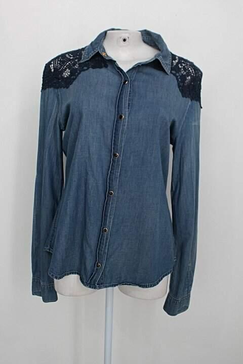 Camisa jeans eqs feminina azul com Renda_foto principal