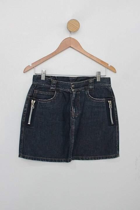 Saia Jeans curta maria bonita feminina azul marinho com detalhes de zíper_foto principal