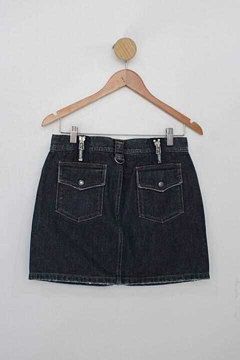 Saia Jeans curta maria bonita feminina azul marinho com detalhes de zíper_foto de costas