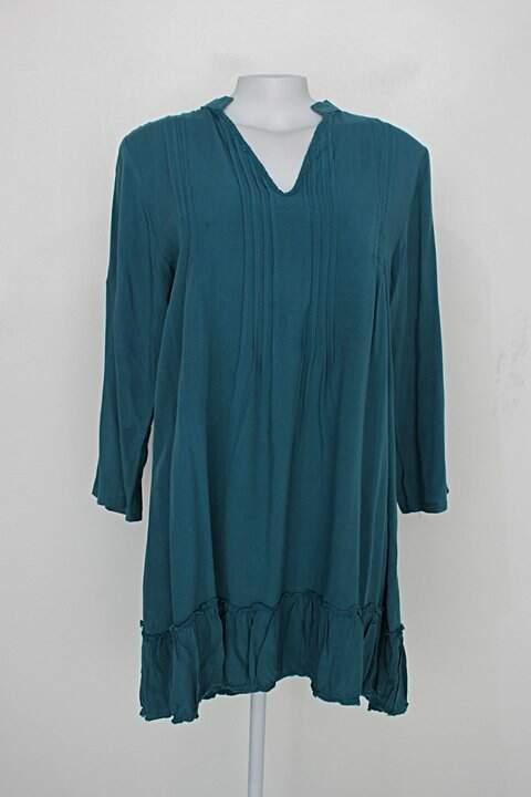 Vestido manga longa barred's feminino azul petróleo_foto principal