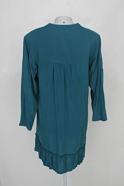 Vestido manga longa barred's feminino azul petróleo_foto de costas