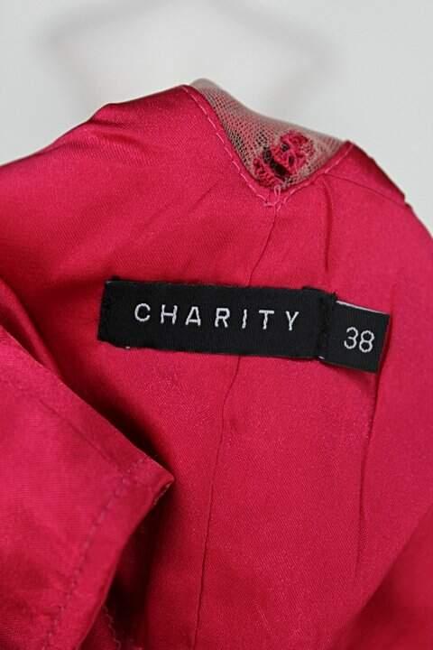Vestido de Festa charity feminino rosa com Transparência e Bojo_foto de detalhe