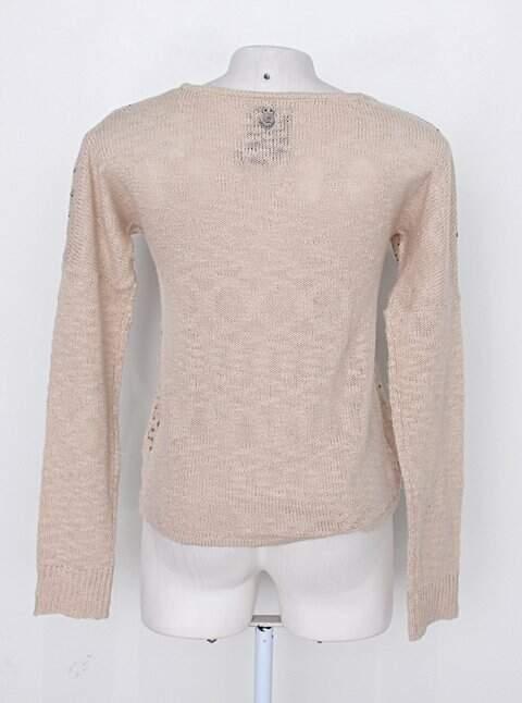 Suéter khelf feminino bege estampado_foto de costas