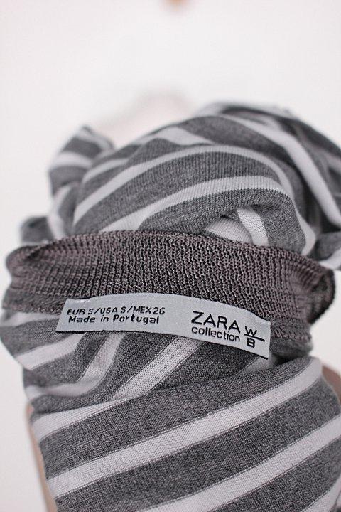 Blusa zara feminina cinza listrada com recortes laterais_foto de detalhe