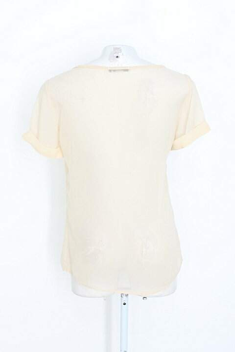 Blusa riachuelo feminina bege com Strass_foto de costas