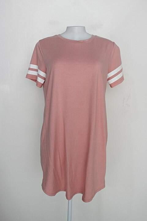 Vestido camisetão  forever 21 feminino rosa cl. c/ listras na maga_foto principal