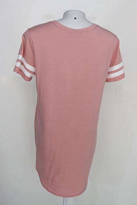 Vestido camisetão  forever 21 feminino rosa cl. c/ listras na maga_foto de costas
