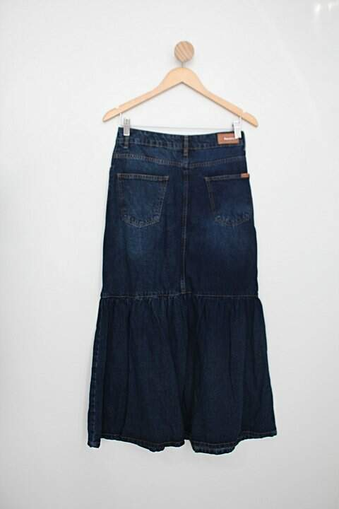 Saia Jeans aquamar feminina azul_foto de costas