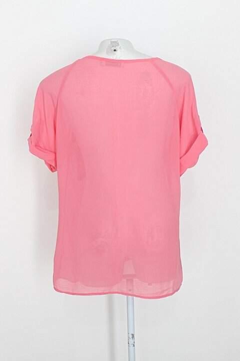 Blusa desnude feminina rosa c/ manga dobrada _foto de costas