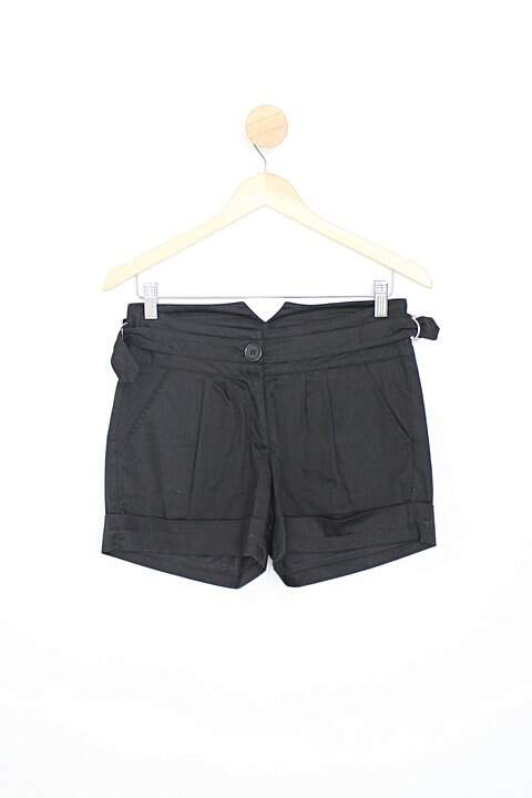 Shorts chakra feminino preto com Pregas_foto principal