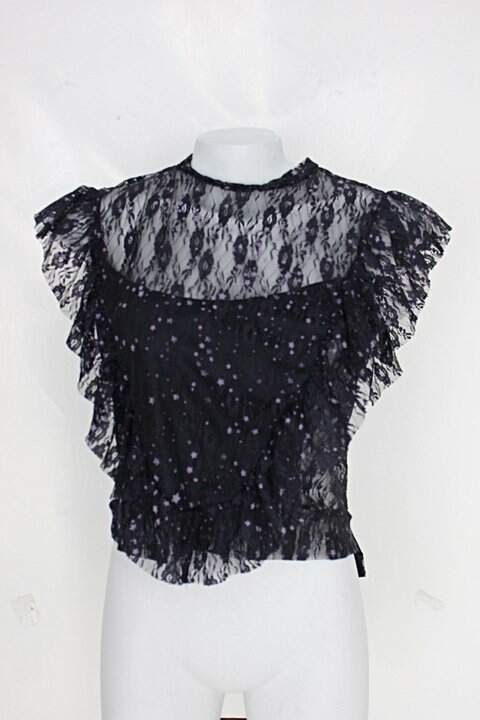 Blusa zara feminina preta e roxa com Transparência_foto principal