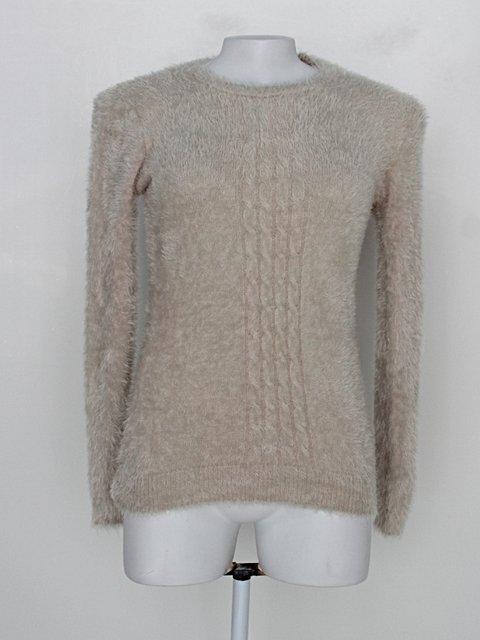 Suéter de tricot pelúcia royallove feminino bege caqui_foto principal