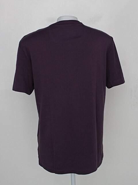 Camiseta brooksfield masculina roxa com botões_foto de costas