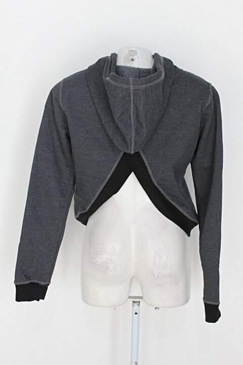 Casaco código girls feminino cinza com Fenda e Bordado_foto de costas