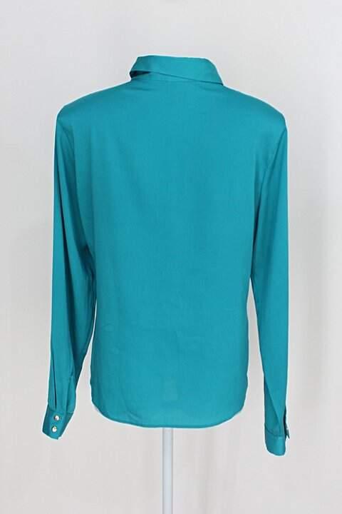 Camisa renner feminina azul turquesa _foto de costas