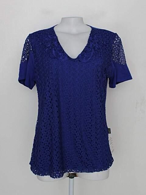 Blusa de renda cara metade feminina azul com Bordado_foto principal