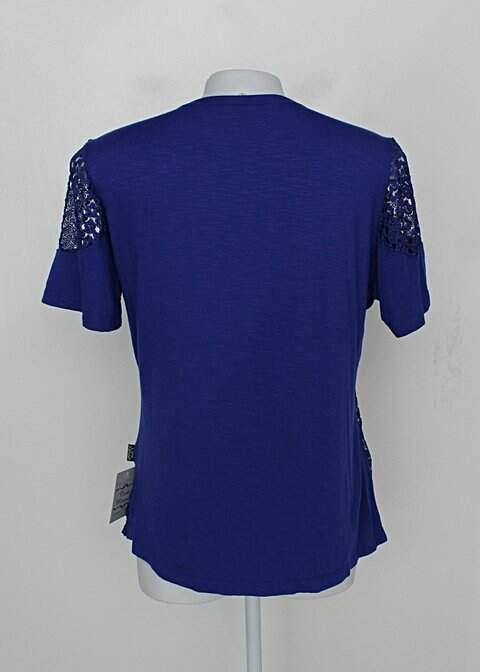 Blusa de renda cara metade feminina azul com Bordado_foto de costas
