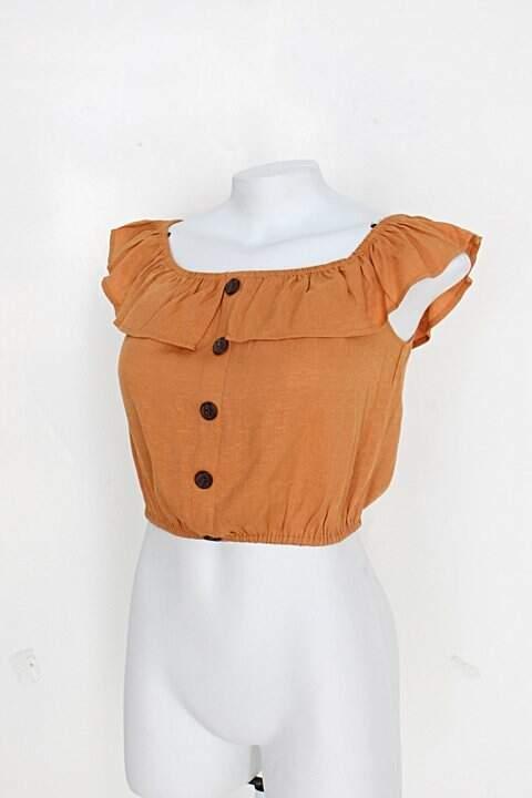 Blusa cropped forever 21 feminina ocre com babado e botões_foto de costas