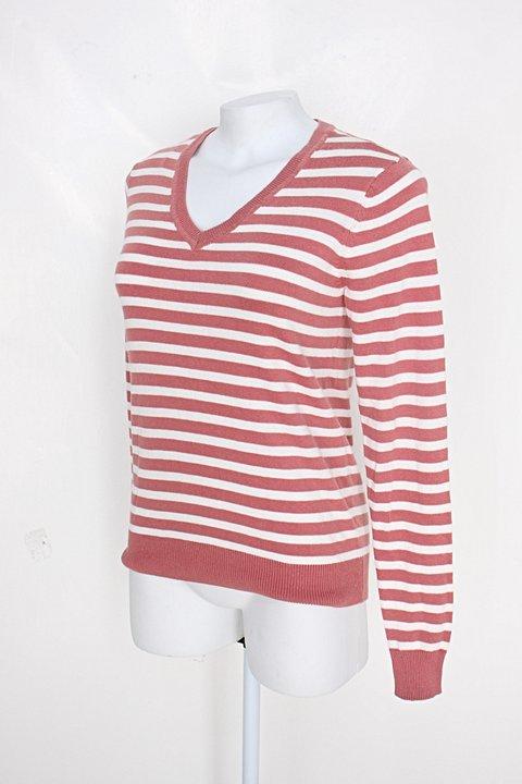 Suéter hering feminino rosa queimado listrado_foto de costas