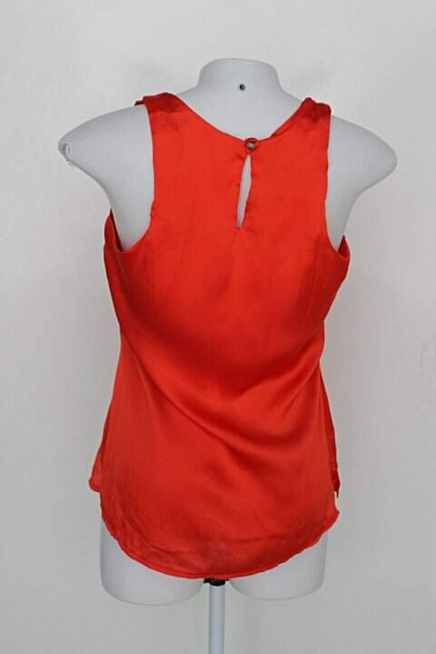 Blusa Regata k2b feminina laranja com Renda_foto de costas