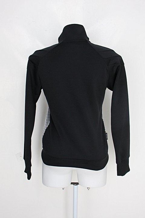 Jaqueta adidas feminina preta e cinza estampada com gola alta_foto de costas